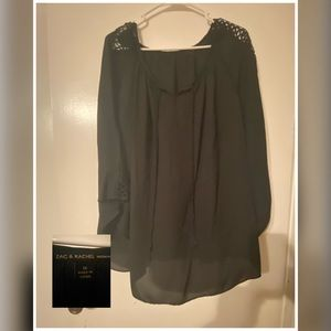 Black blouse with cut out sleeve